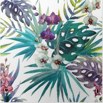 Poster Mönster orkidé hibiskus lämnar vattenfärg tropikerna