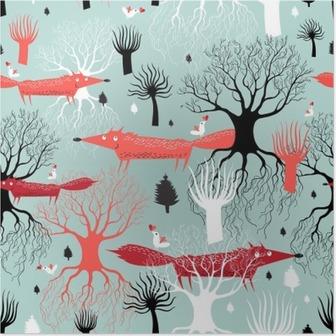 Poster Mönster träd och rävar