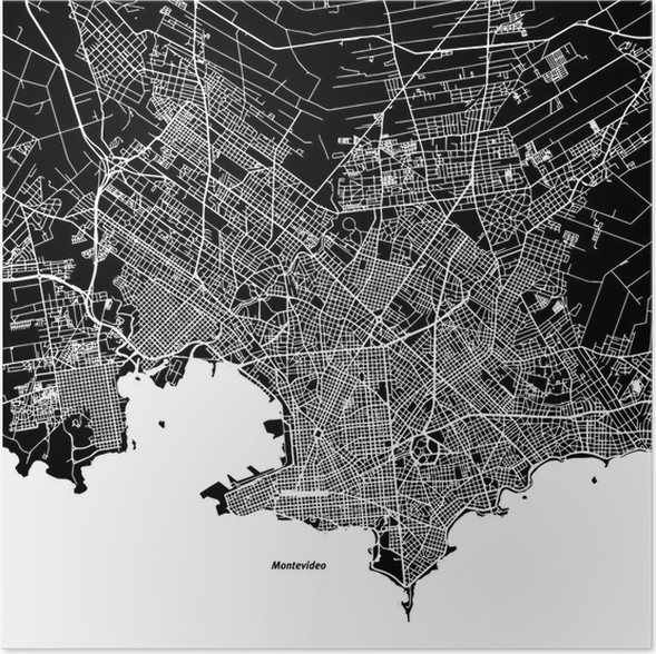 Montevideo one color map poster