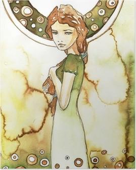 Poster Mooi meisje in het groen Art Nouveau