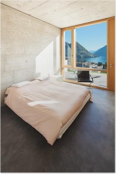 Poster Mooi modern huis in cement, interieurs, slaapkamer • Pixers ...