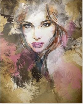 Poster Mooie vrouw gezicht. aquarel illustratie