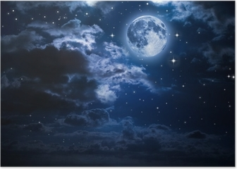 moon and clouds in the night Poster