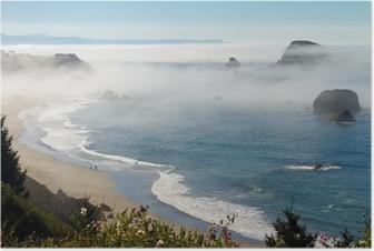 morning fog along coast at Brookings, Oregon Poster