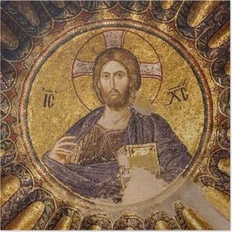 Poster Mosaïque du Christ Pantocrator dans la coupole sud du narthex intérieur de l'église Chora, Istanbul, Turquie.