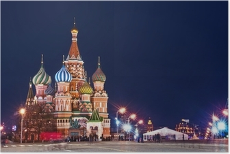 Poster Moskou St. Basil's Cathedral Night Shot