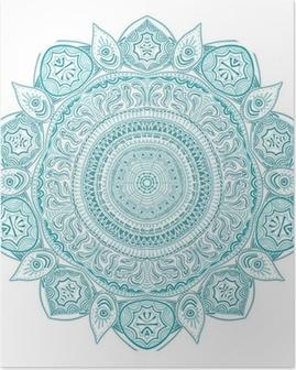 Poster Motif de dentelle autour d'ornement, fond de cercle avec de nombreux detai