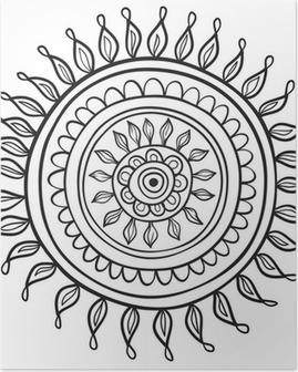 Poster Motif de Mandala noir et blanc isolé dans le vecteur