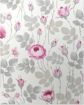 Poster Motif floral sans couture avec des roses dans des couleurs pastel