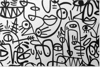 Poster Motif graffiti noir et blanc sur le mur.Espagne, jerez, janvier 2018.intéressant fond