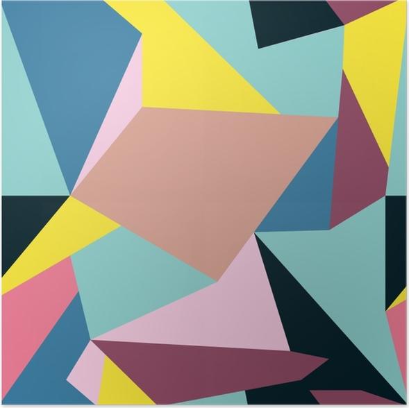Poster motif Memphis de formes géométriques pour les tissus et cartes postales -