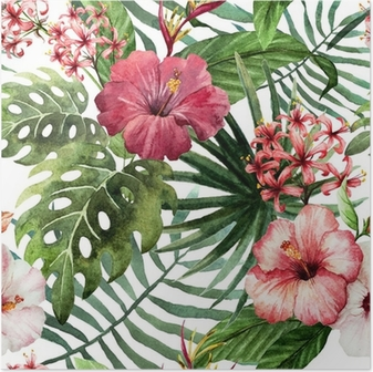 Poster Motif orchidée hibiscus feuilles tropiques aquarelle