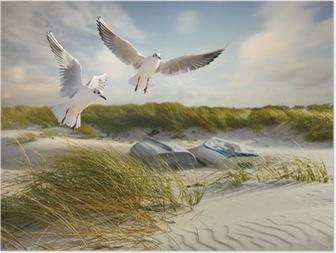 Poster Mouettes, des dunes et des bateaux de pêche