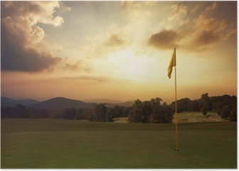 Mountain sunrise at the golf course Poster