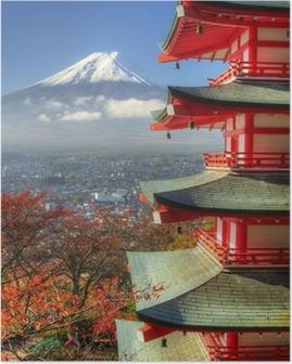 Mt. Fuji and Autumn Leaves at Arakura Sengen Shrine in Japan Poster