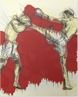 Poster Muay Thai (art martial de la Thaïlande) - dessin à la main dans le vecteur