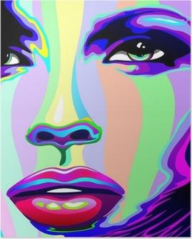 Póster Muchacha Retrato Psychedelic Psychedelic Rainbow-muchacha de la cara