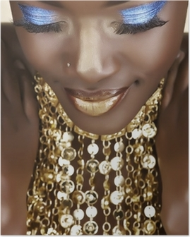 Póster Mujer africana con oro