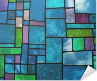 Multicolored stained blue glass window, square format Poster