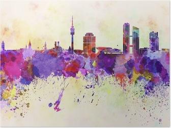 Poster Munich horizon dans le fond d'aquarelle