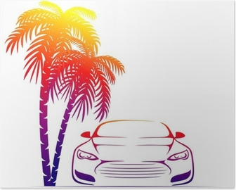 muscle car near the palm Poster