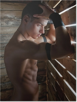 Muscle sexy naked young man near to wooden boards Poster