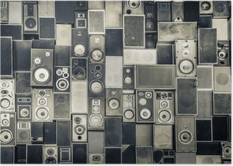Music speakers on the wall in monochrome vintage style Poster