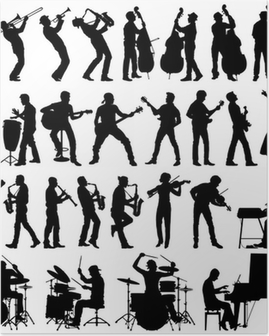 Musicians vector silhouettes Poster