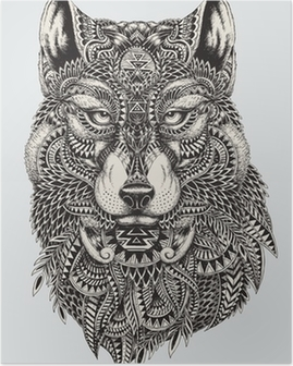 Póster Muy detallada lobo ilustración abstracta