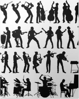 Poster Muzikanten vector silhouetten