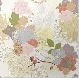 Poster Naadloze achtergrond met abstracte botanische ornament