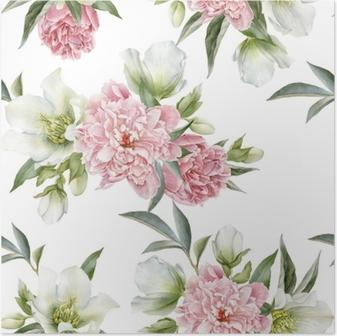 Poster Naadloze bloemmotief met pioenrozen en Helleborus