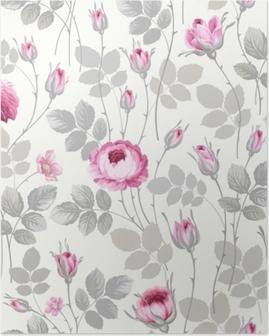 Poster Naadloze bloemmotief met rozen in pastel kleuren