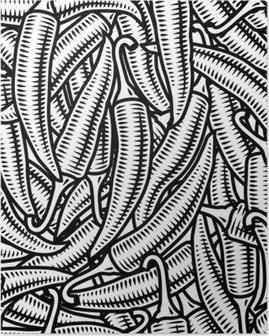Poster Naadloze chili peper achtergrond zwart-wit