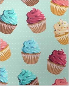Poster Naadloze cupcakes en polka dot