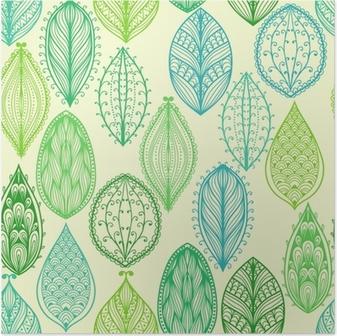 Poster Naadloze hand getekende vintage patroon met groene sierlijke bladeren
