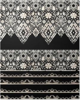 Poster Naadloze kant kanten washi tapes lint patroon op zwart