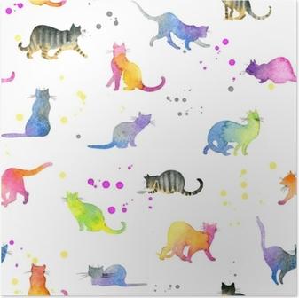 Poster Naadloze patroon met schattige katten