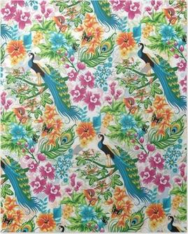 Poster Naadloze tropische patroon met pauwen en bloemen.