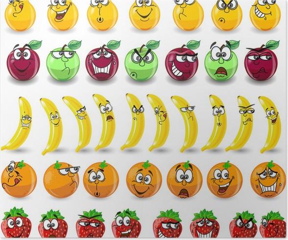 Póster Naranjas Dibujos Animados, Los Plátanos, Las