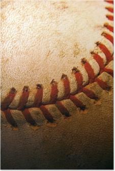 Poster Närbild på en gammal, används baseball