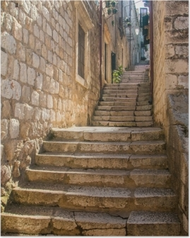 Narrow street and stairs in the Old Town in Dubrovnik, Croatia, Mediterranean ambient Poster