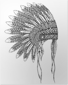 Native American indian headdress with feathers in a sketch style Poster