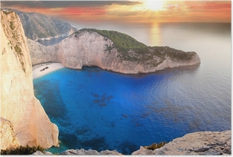 Navagio Beach with shipwreck in Zakynthos, Greece Poster