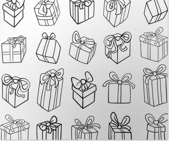 Póster Navidad o regalos de cumpleaños para colorear • Pixers ...
