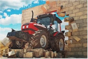 Poster Neuf Tracteur briser le mur