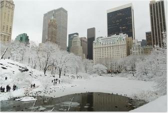 Poster New York, Central Park dans la neige manhattan