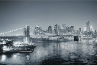 New York City Manhattan downtown black and white Poster