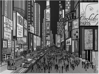 Poster New York - vue de nuit de Times Square