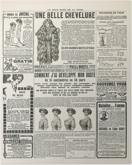 newspaper page with antique advertisement paris ca. 1919 Poster